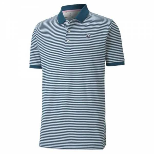 POLO SIGNATURE STRIPE PUMA x ARNOLD PALMER LEGION BLUE - vêtements de golf