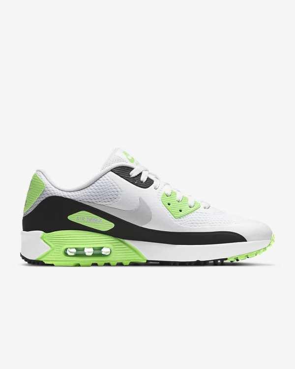 CHAUSSURES NIKE AIR MAX 90G BLANC NOIR GRIS VERT - chaussures de golf